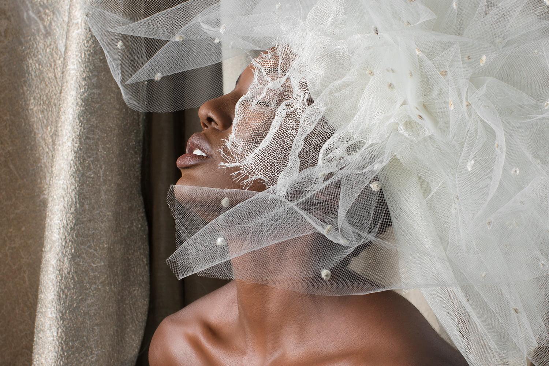 custom wedding dress - bride with veil