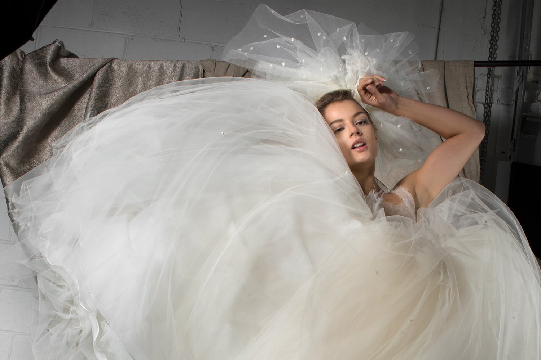 custom wedding dress - bride in lace