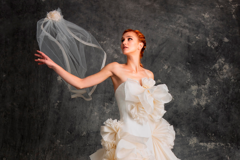 custom wedding dress - veil