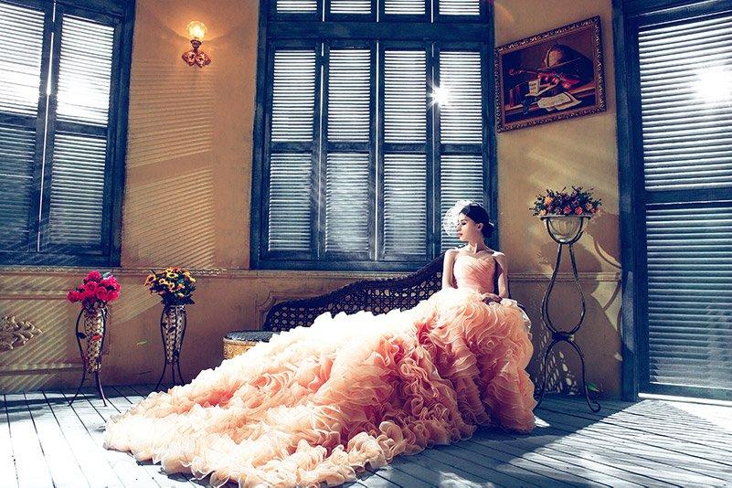 Bride in long pink dress