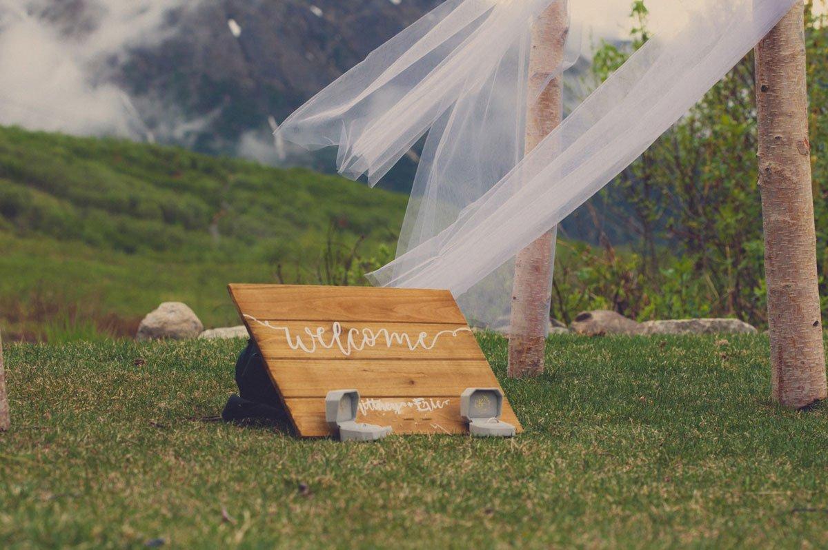 garden wedding welcome sign