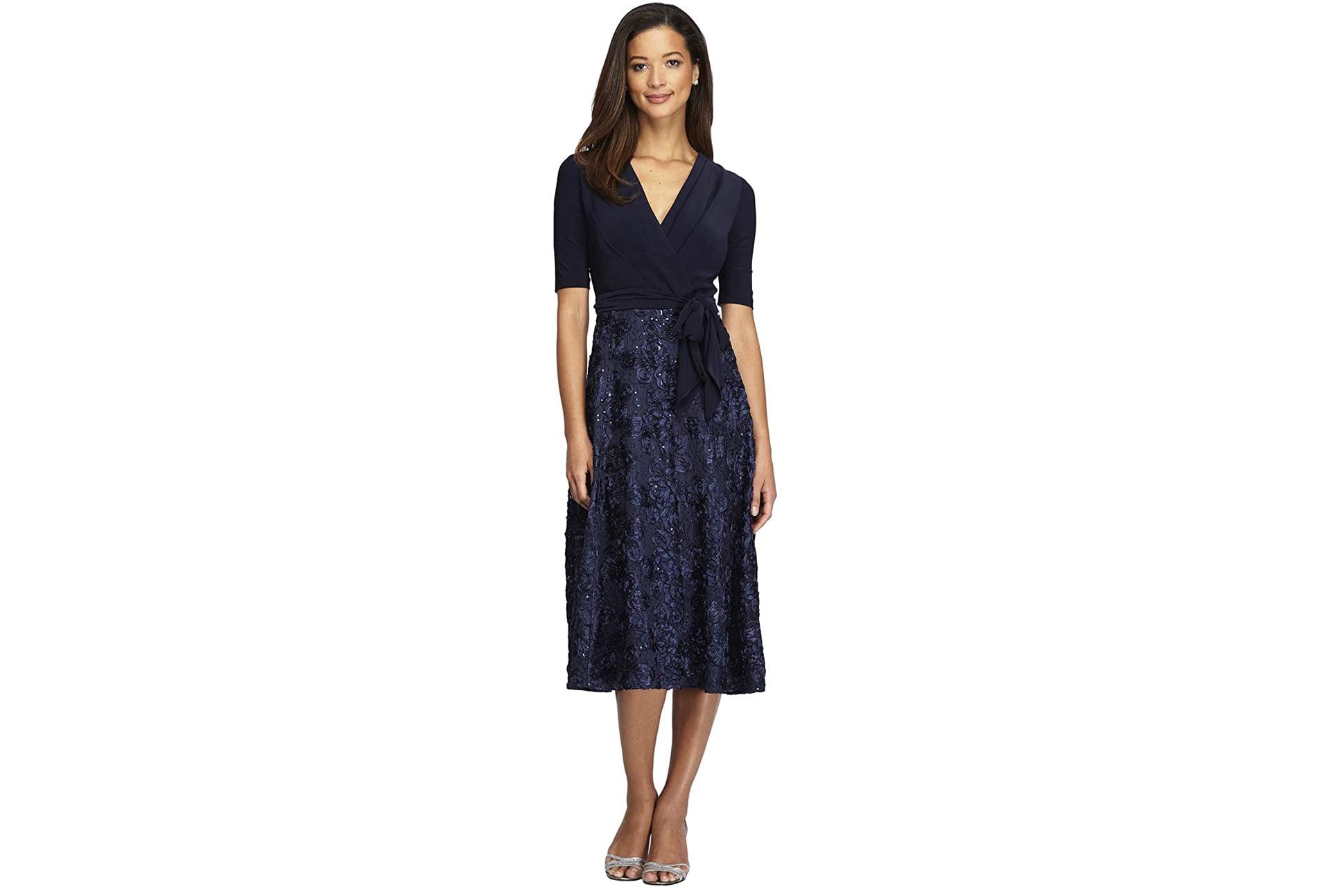 Mother of the groom dress idea: Alex Evenings Tea Length Dress with Rosette Detail