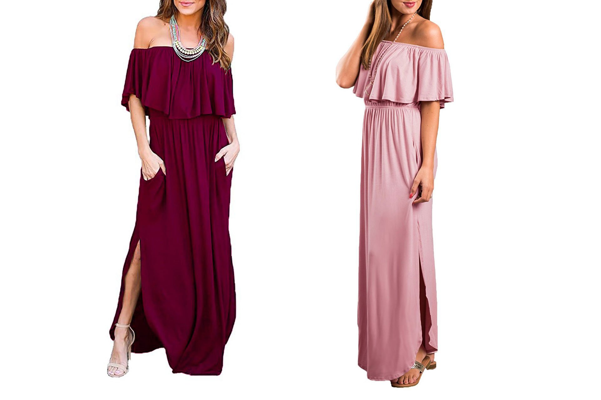 engagement party dress ideas:   Off The Shoulder Ruffle Party Dresses Side Split Beach Maxi Dress