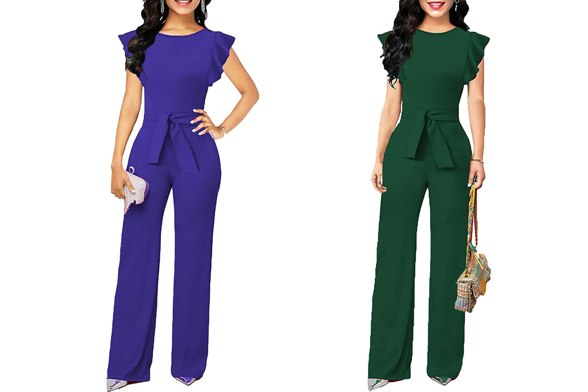 engagement party dress ideas: Soinku Women's Elegant Wide Leg Jumpsuit Ruffle High Waist Romper Long Jumpsuits with Belt