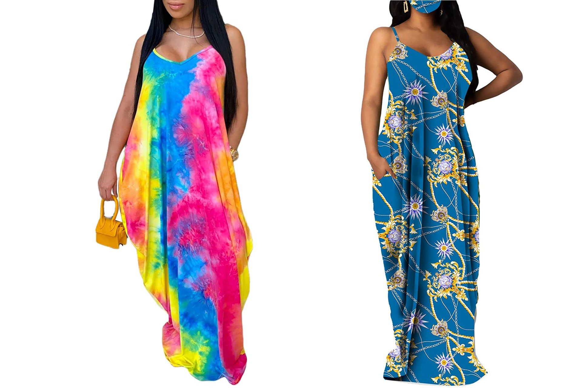 Women's Casual Summer Maxi Dresses Sleeveless Bohemian Floral Print Loose Plus Size Sundresses with Pockets
