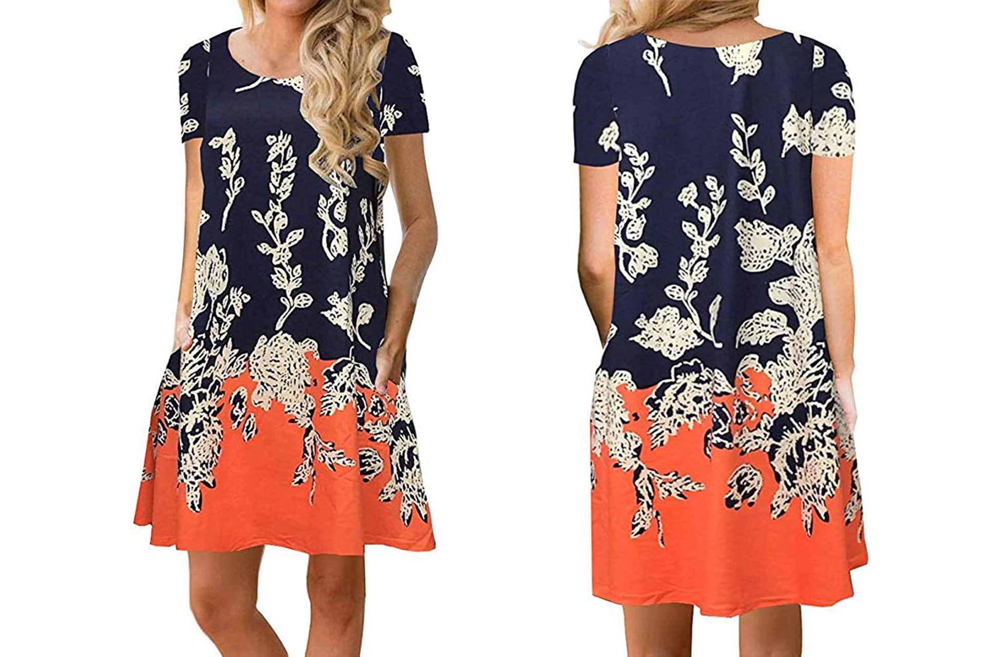 Sherosa Womens Summer Floral Print Sleeveless Sundress