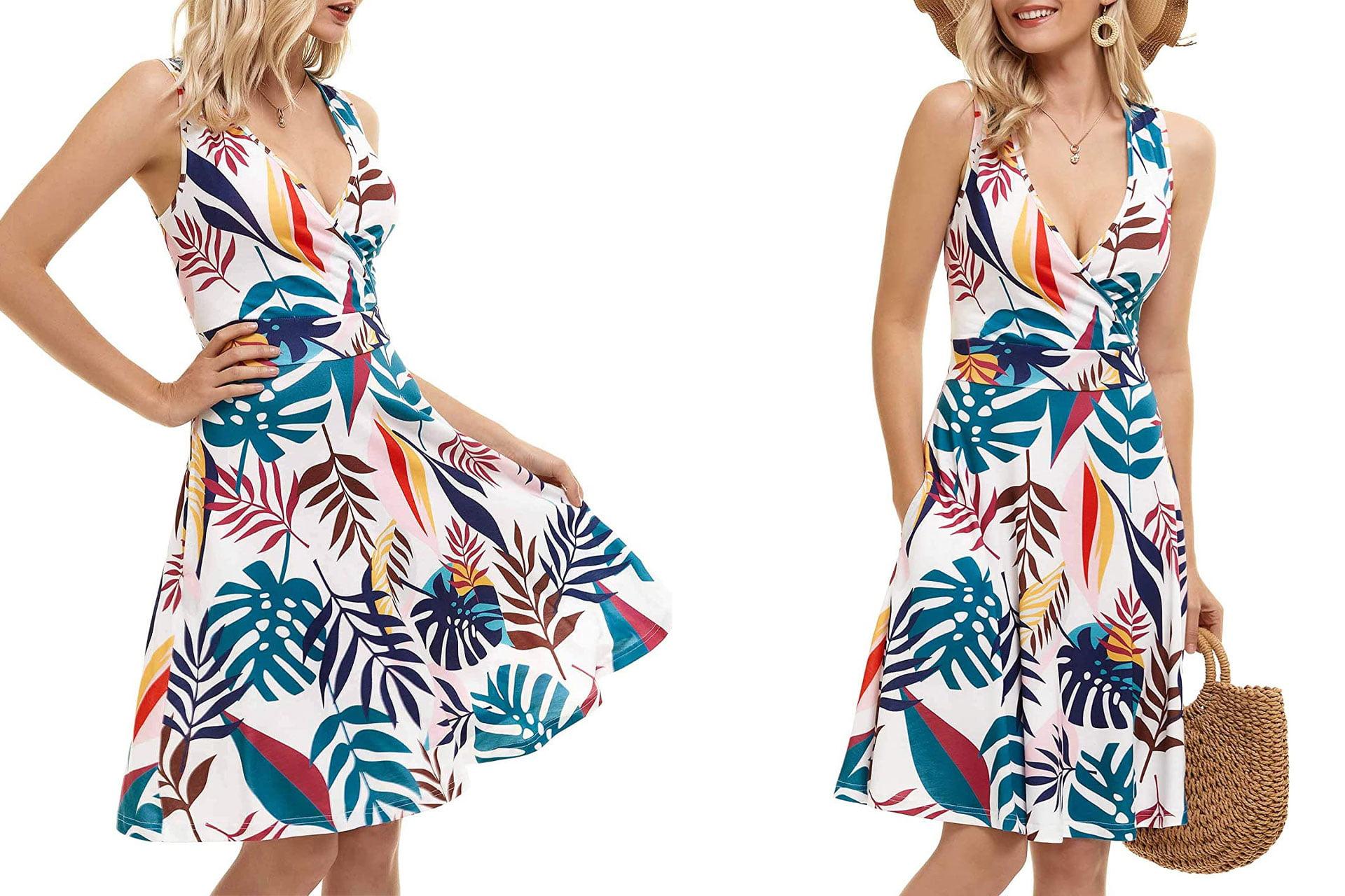 GUBERRY Women's Wrap V Neck Sleeveless Sundress Summer Flare Tank Dress with Pockets