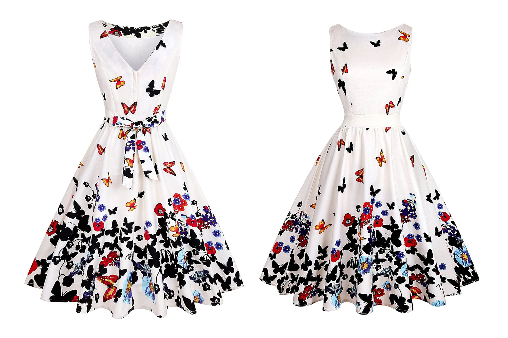 OWIN Women's Floral 1950s Vintage Swing Cocktail Party Dress