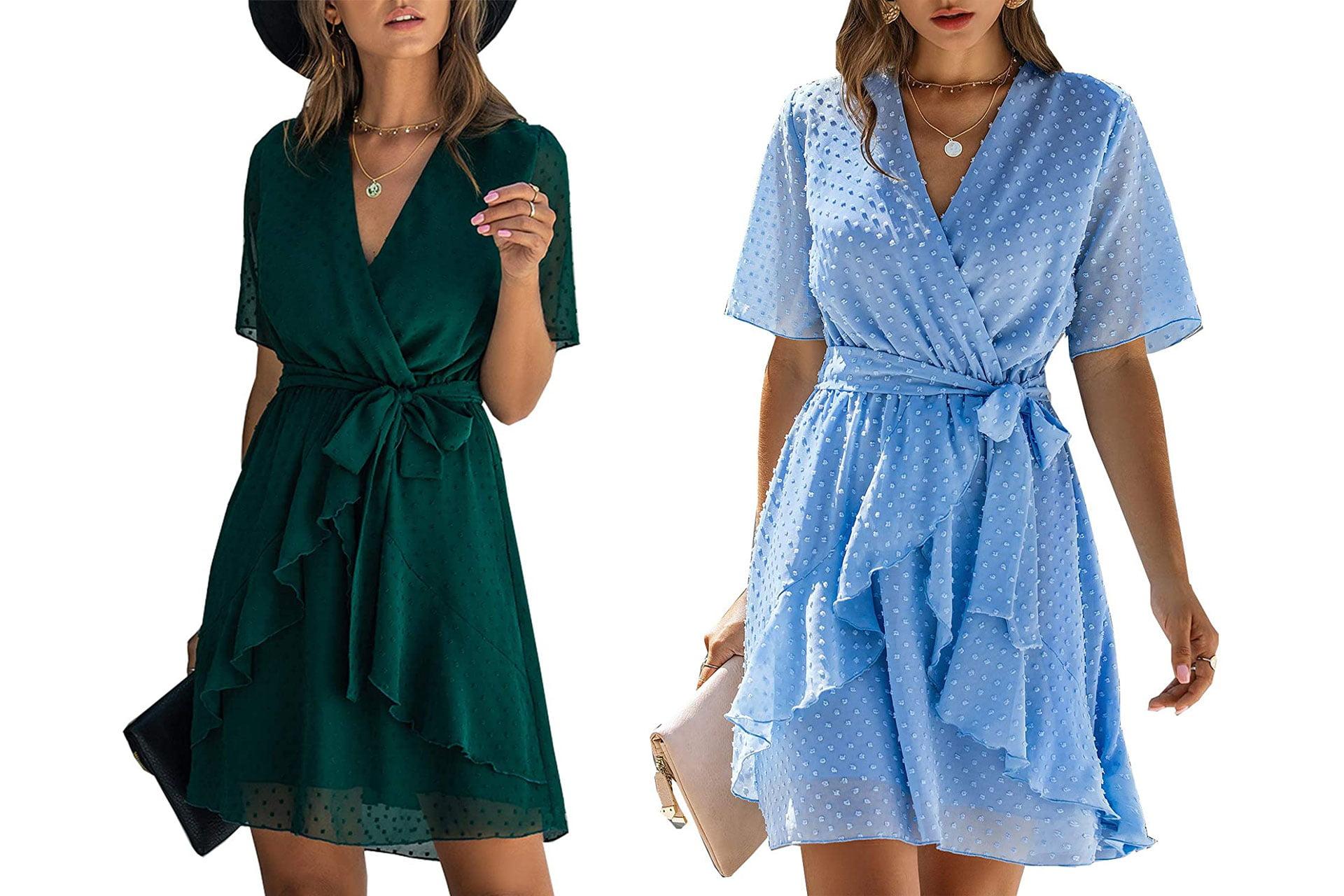 BTFBM Faux-Wrap Ruffle Hem Short Dress