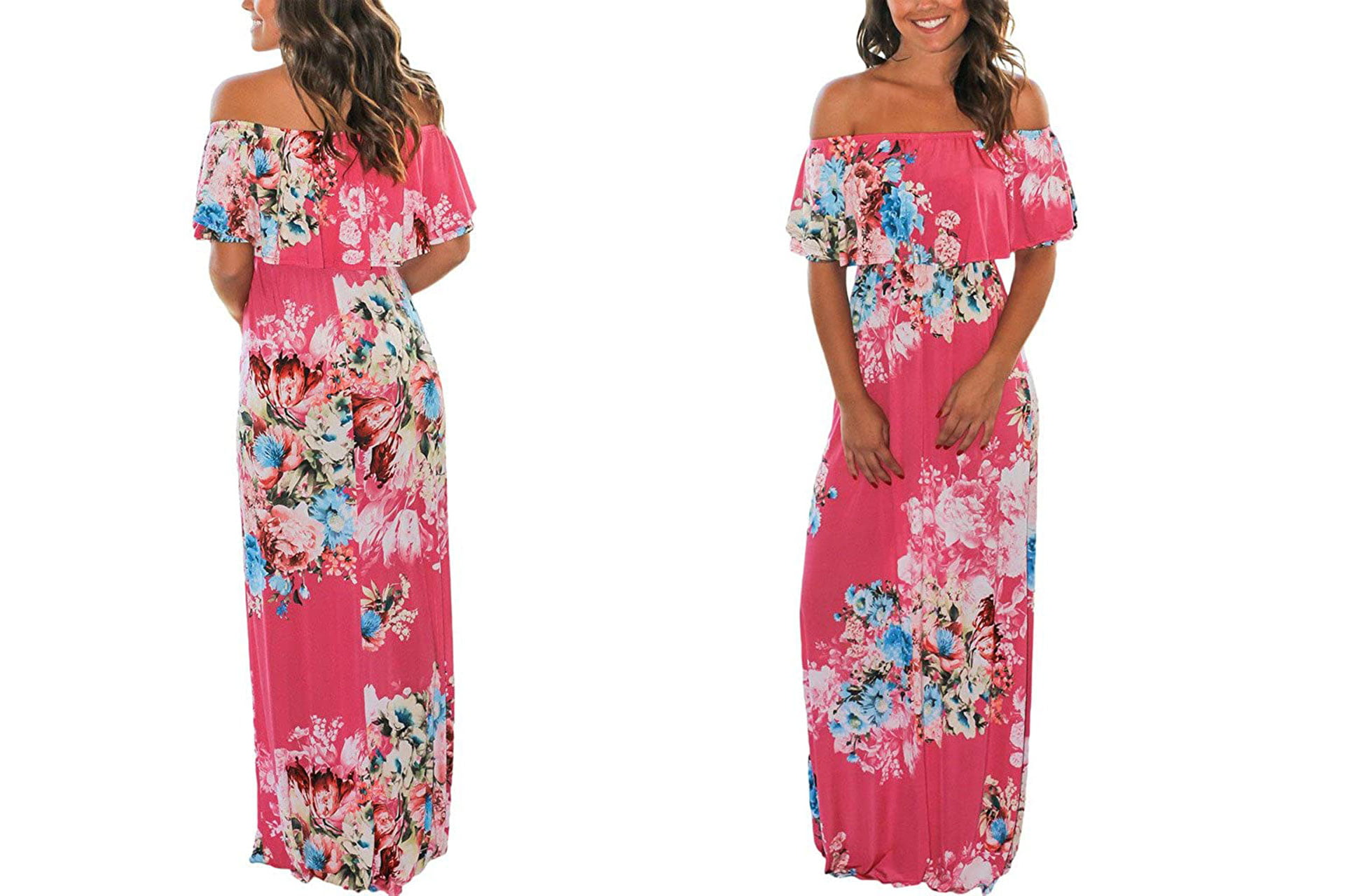 what type of dress to wear to a summer wedding:  Floral Print Off Shoulder Maxi Dresses