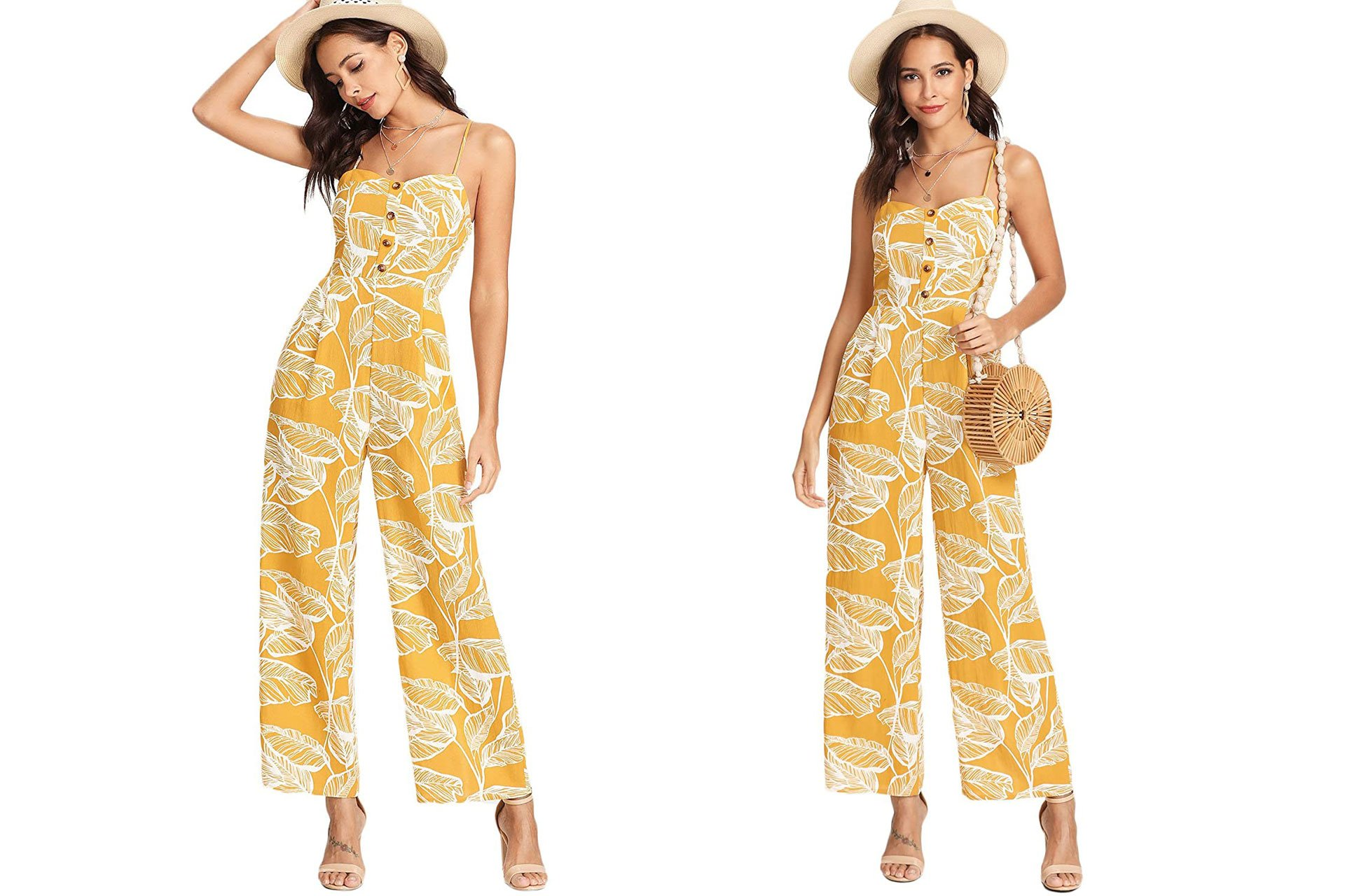 what type of dress to wear to a summer wedding: Leaf Print Cami Palazzo Jumpsuit