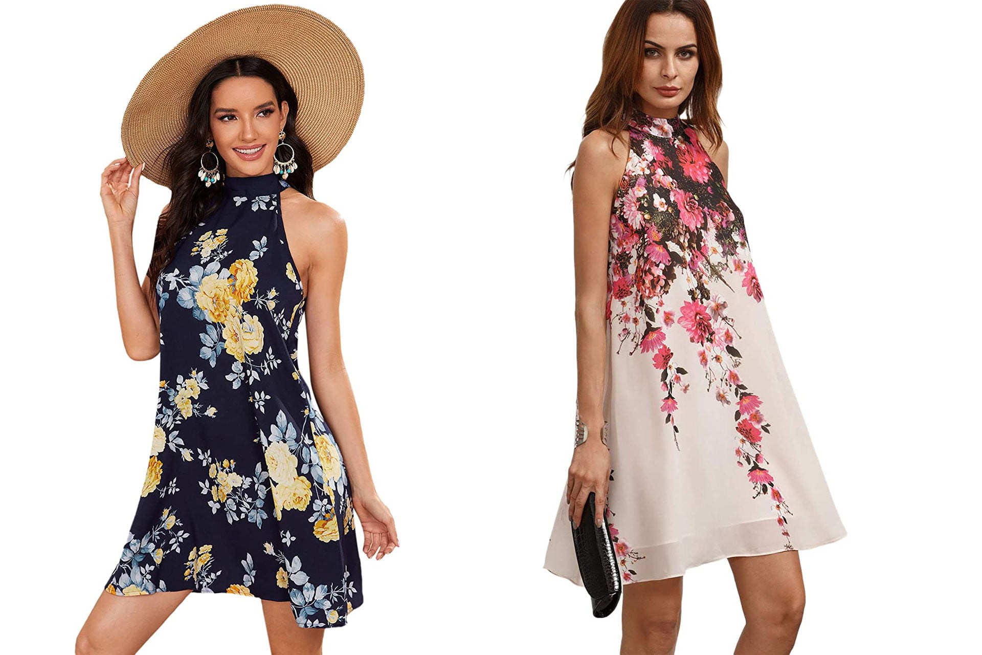 what type of dress to wear to a summer wedding: Floral Print Sleeveless Halter Neck Party Dress