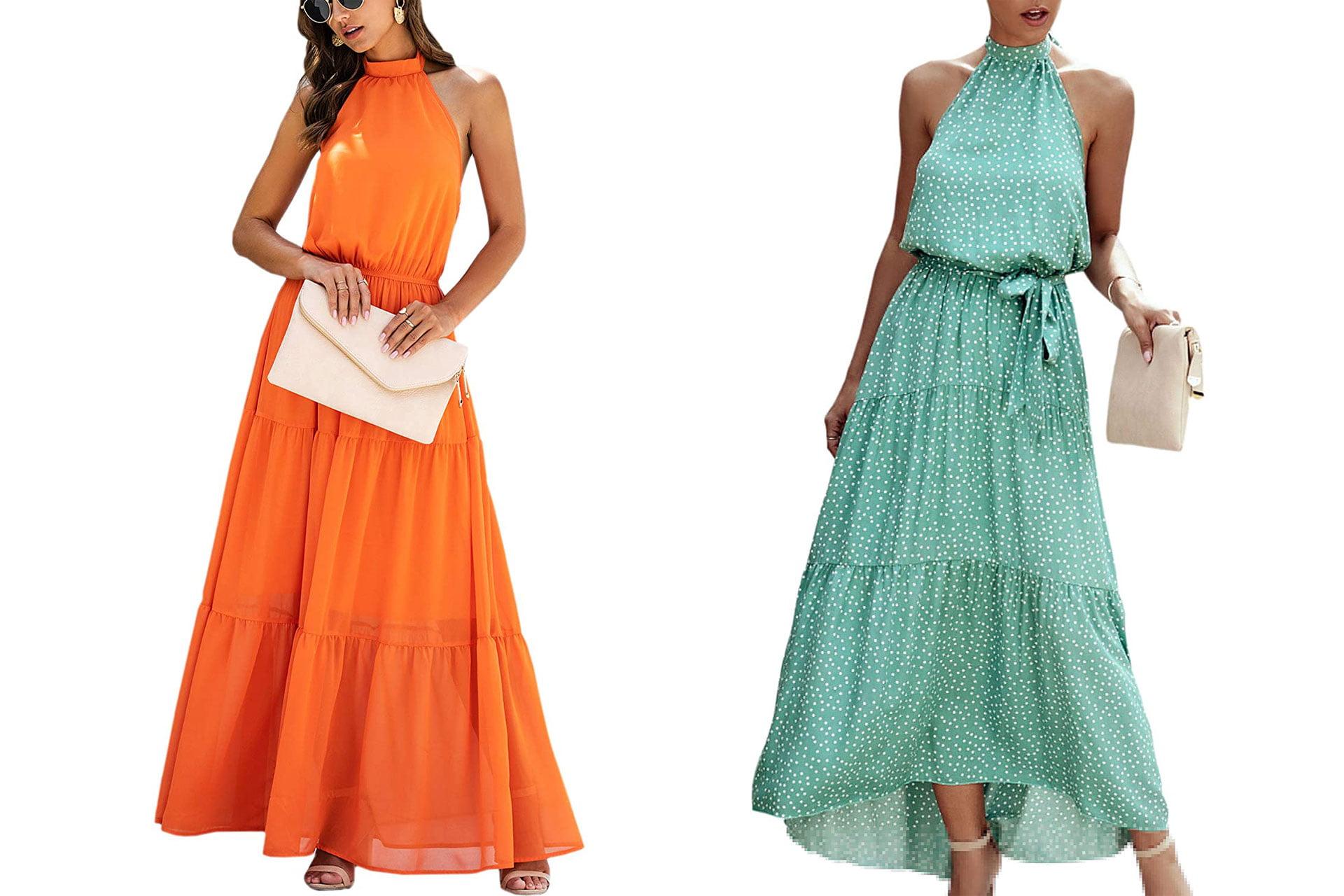 ECOWISH Halter Neck Boho Floral Print Sleeveless Maxi Dress