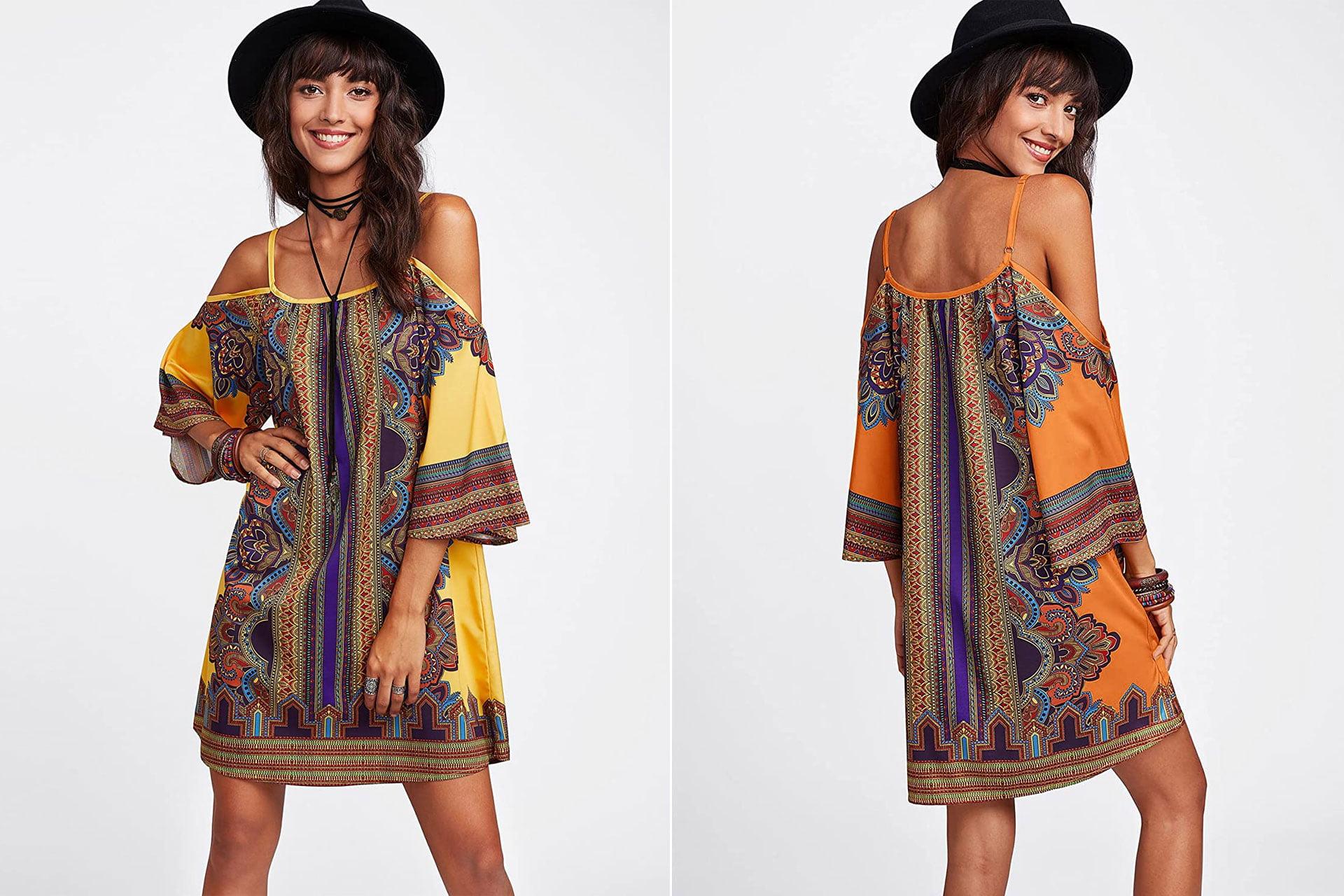 Milumia Women's Vintage Print Kimono Sleeve Geometric Tunic Boho Dress