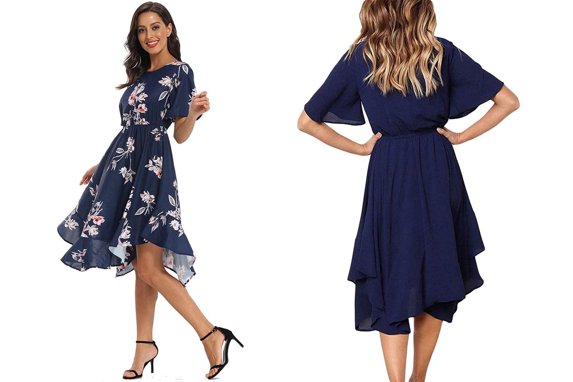 Alaster Women's Chiffon Short Sleeve Midi Dress