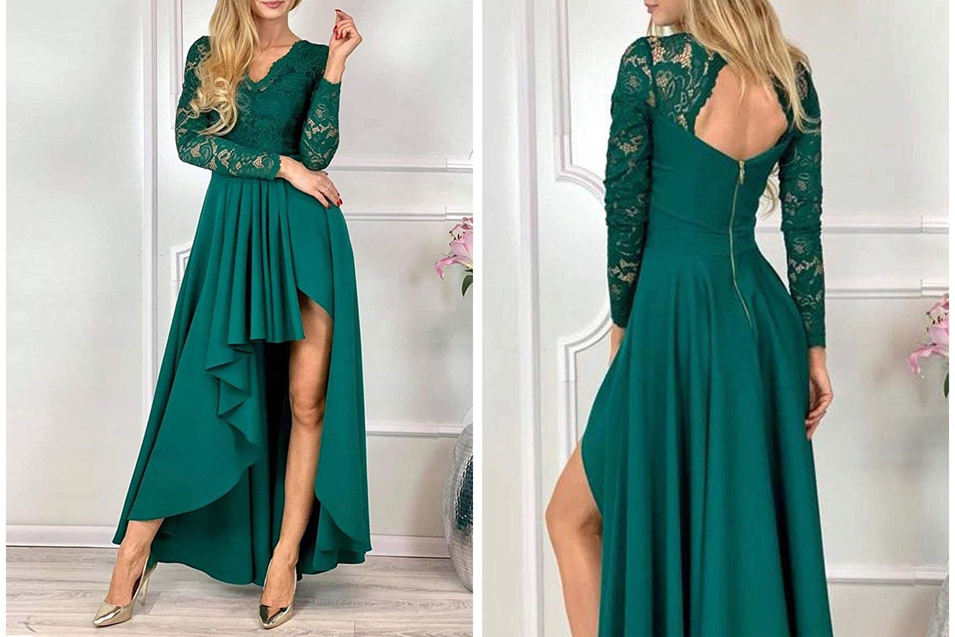 Bdcoco Floral Lace Hi-Low Cocktail Party Dress