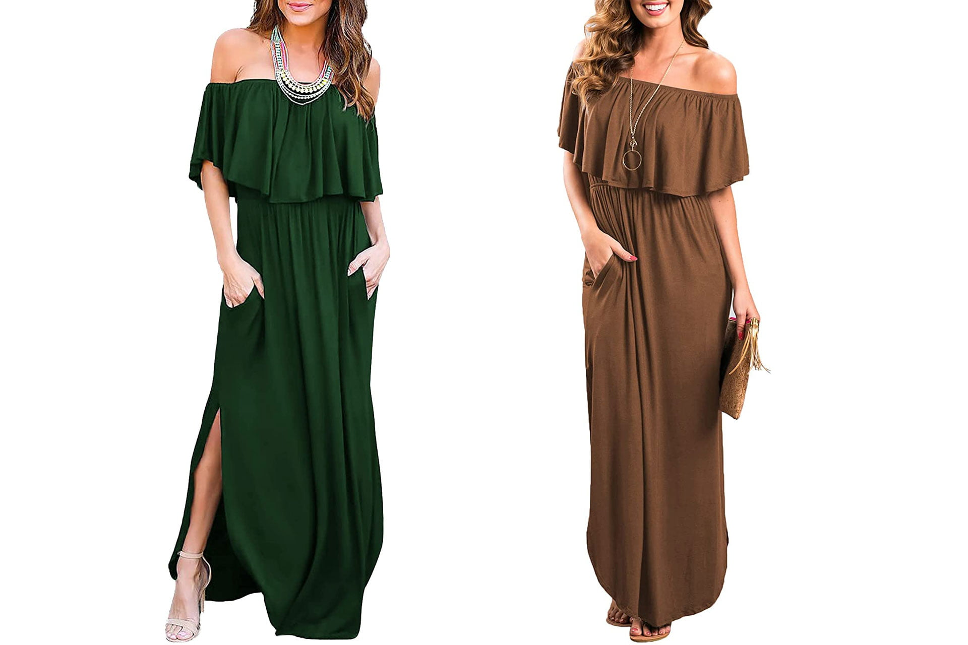 Women's Off The Shoulder Ruffle Party Dresses Side Split Beach Maxi Dress