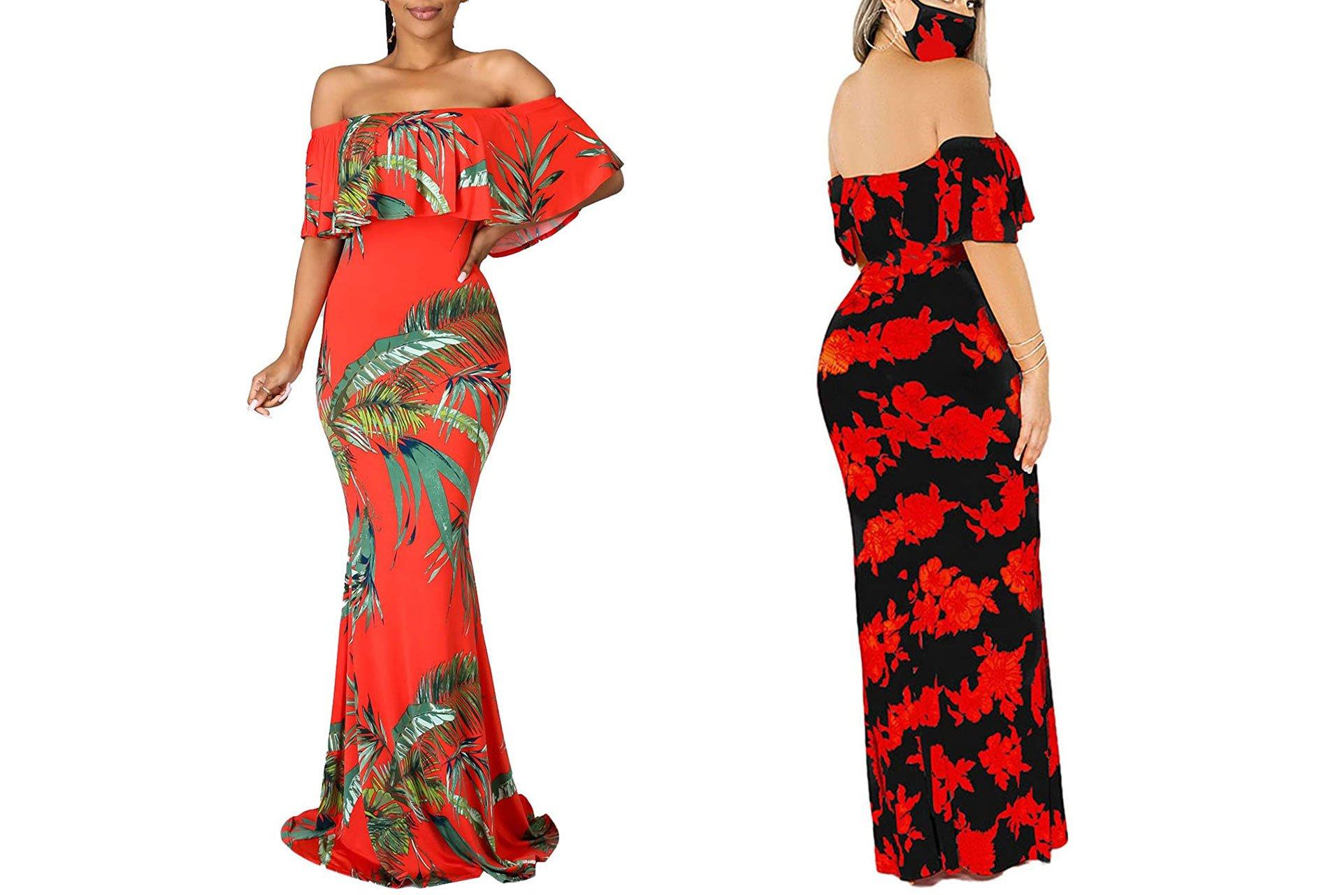 BestGirl Off Shoulder Hawaiian Floral Printed Evening Gowns